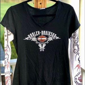 "Harley Davidson ""Tatoo Sleeve"" V-Neck Tee"